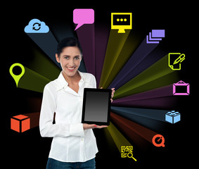 Smilng woman with tablet and colourful icons