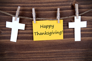 Yellow Label with Happy Thanksgiving Greetings