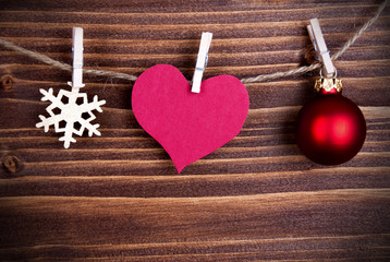 Heart Tag on a Line as Christmas or Winter Background