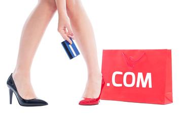 Dot com shopping concept using credit card.