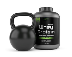 Protein jar and kettlebell