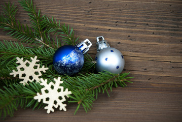 Christmas Background with Decorations on Wood