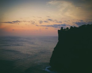 Pura uluwatu temple at sunset in Bali
