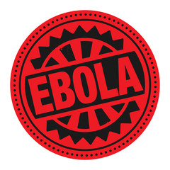 Abstract stamp or label with the text Ebola written inside
