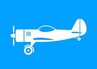 White plane icon on blue background