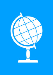 White globe icon on blue background