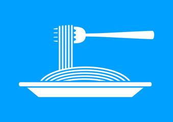 White spaghetti icon on blue background