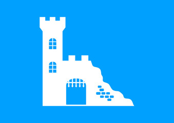 White castle ruins on blue background
