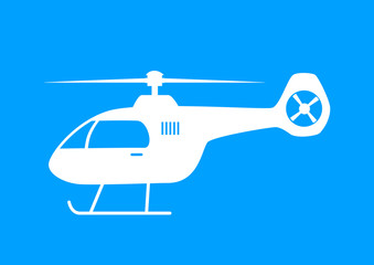 White helicopter icon on blue background