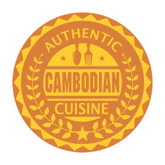 Abstract stamp with the text Authentic Cambodian Cuisine