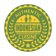 Abstract stamp with the text Authentic Indonesian Cuisine