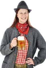 Frau trinkt Maß Bier zum Oktoberfest