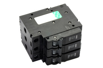 Set Black Circuit breakers ,isolated on a white background