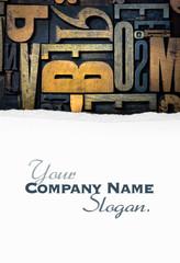 Background of vintage wooden letters custom