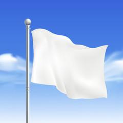 blank white flying flag