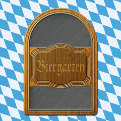 Schild Biergarten Schiefertafel