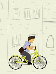 Postman riding bicycle