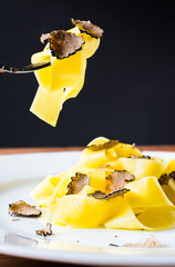 Pasta with truffles.Restaurant menu plate.