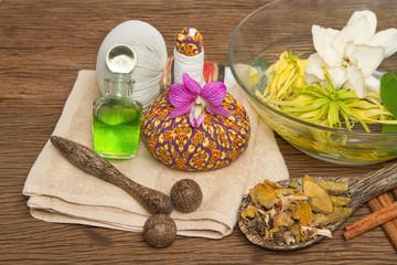 Thai spa massage setting with thai  herbal compress balls, essen