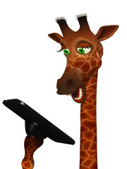 cartoon giraffe with a tablet