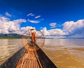 Traditional fisherman catching fish at Inle lake, Myanmar