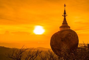 Golden rock called Kyaikhtiyo pagoda in Kyaikhto, Myanmar