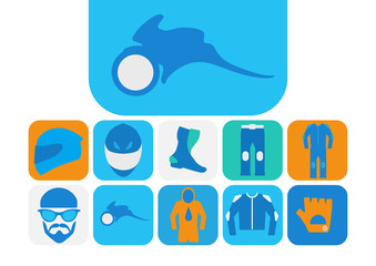 Motorcyclist equipment icons set