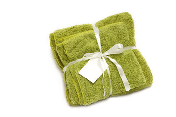 colorful microfiber towels and white ribbon