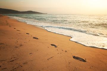 Footprints in beach