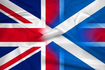 Waving Scotland and United Kingdom Flag