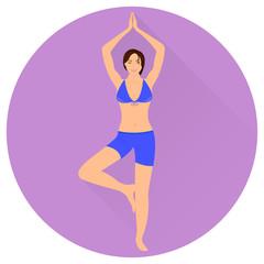 Vector illustration of girl doing yoga