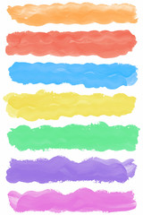 Set of colorful watercolor paint brush strokes with space for