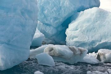 Blue Ice Rocks split from 1500 year old glacier - Iceland