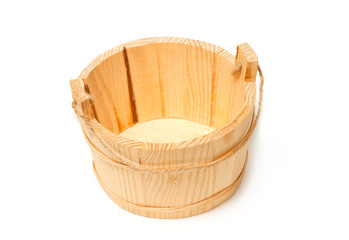 Empty wooden bucket