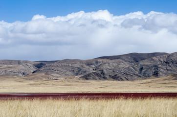 Tibetan highlands and interesting red-colored lake near Daotangh