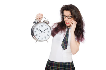 Student missing her deadlines isolated on white