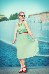 Beautiful woman in vintage clothing