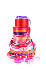 Colorful stack of haberdashery ribbons