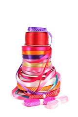 Colorful stack of haberdashery ribbons