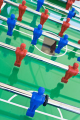 Tabletop football with red and blue figures