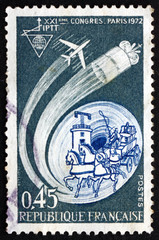 Postage stamp France 1972 Old and New Communications
