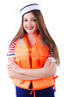 Woman with orange vest isolated on white