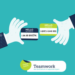 Vector two hands with investor  good idea card