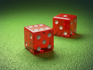 Red dice with clipping path included.