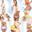 Dieting, healthy eating, fitness, sport and healt collage