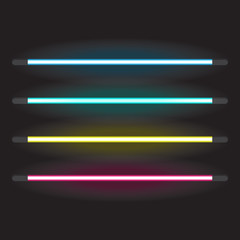 Set of neon tube lights