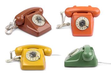 Vintage telephone color variations set