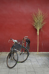 Old chinese bicycle in front of Forbidden city wall, Beijing, Ch