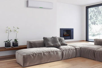 Modern living room wit hair conditioner
