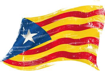Catalan Estelada blava grunge flag